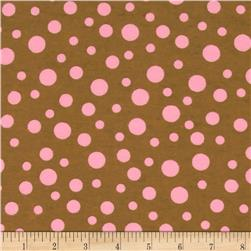 Alpine Flannel Basics Dots Brown/Pink