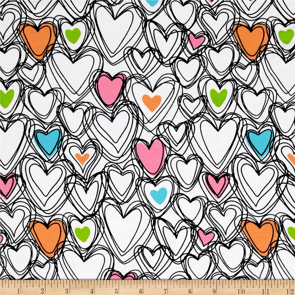 Jersey Knit Scribble Hearts White Fabric