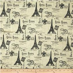 54'' Printed Burlap Eiffel Tower Black Fabric