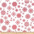Winter Essentials II Snowflake Red on White