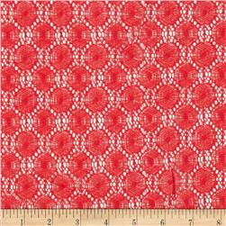 Designer Cotton Blend Crochet Lace Circle Coral Red