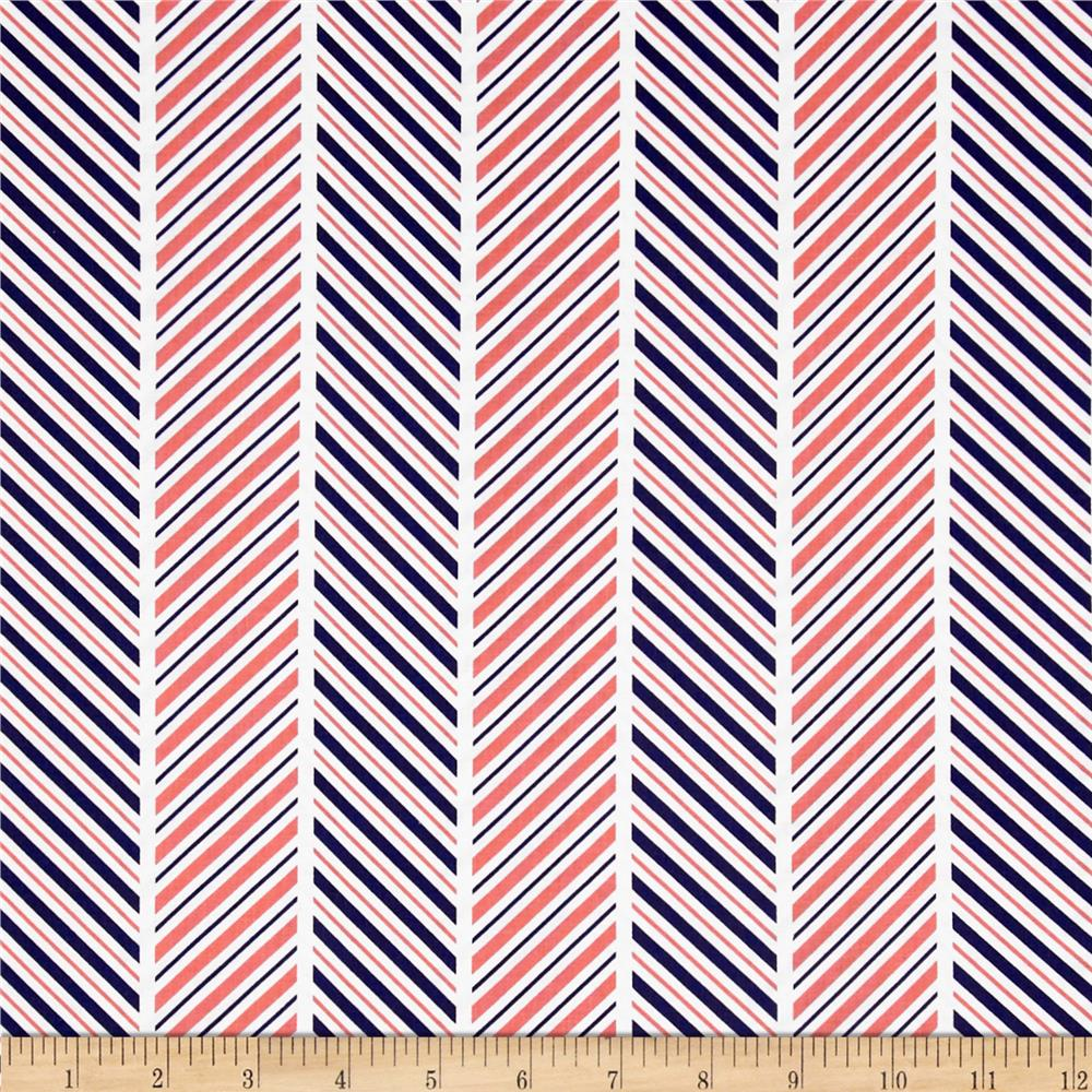 Michael Miller The Littles Which Way Stripe Coral
