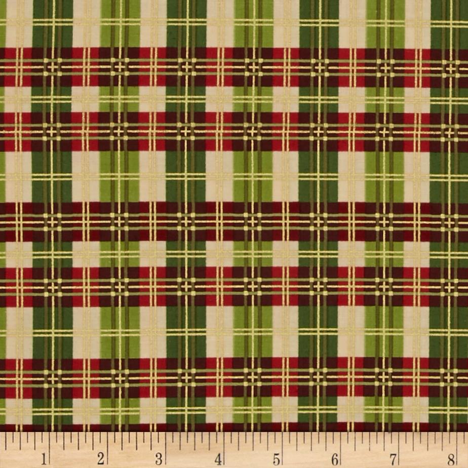 Christmas Bells Metallics Plaid Multi