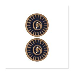 Organic Elements Wood Button 1'' Navy