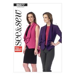 Butterick Misses' Vest and Jacket Pattern B6077 Size 0A0