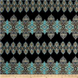 Rayon Challis Bohemian Chic Prints Black/Light Blue