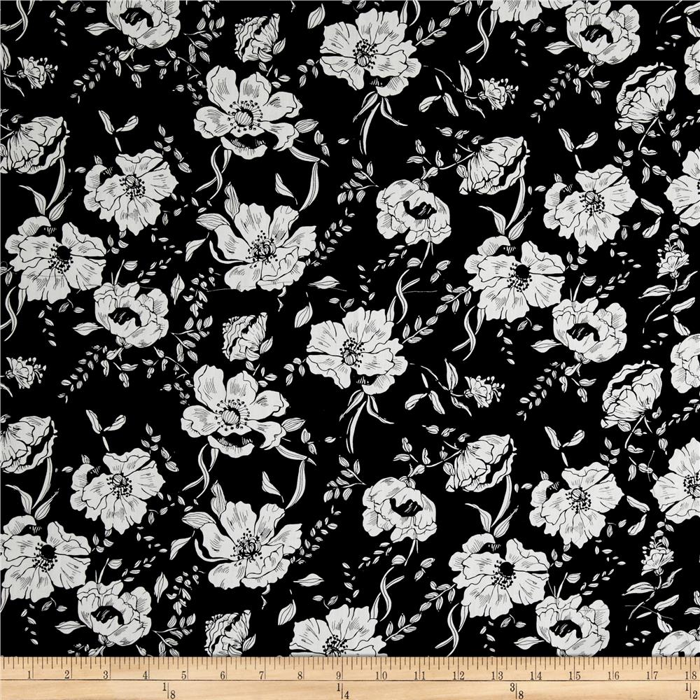 Telio Hampton Court Cotton Shirting Floral Print Black
