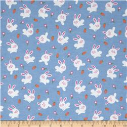 Michael Miller Baby Flannel Bunny Love Blue Fabric
