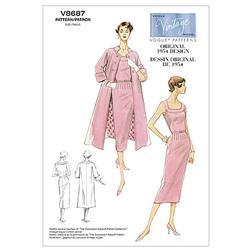 Vogue Misses' Dress, Belt And Coat Pattern V8687 Size BB0