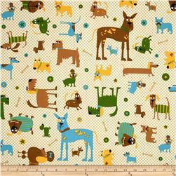 Whiskers & Tails Dogs Allover Natural Fabric