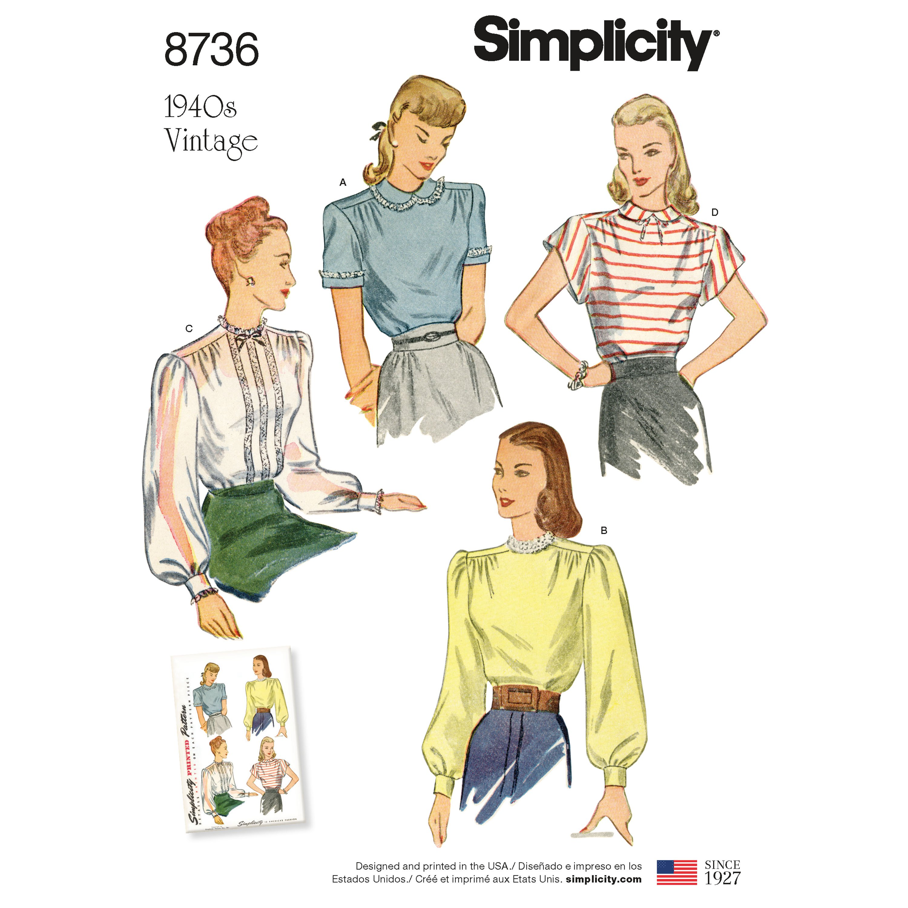 1940s Fabrics and Colors in Fashion Simplicity 8736 Misses Vintage Blouses H5 Sizes 6-14 $14.20 AT vintagedancer.com