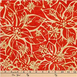 Kaufman Batiks Metallic Northwood Poinsettia Cardinal