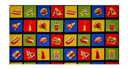 "Takeout Food in 27"" Squares Panel Multi"