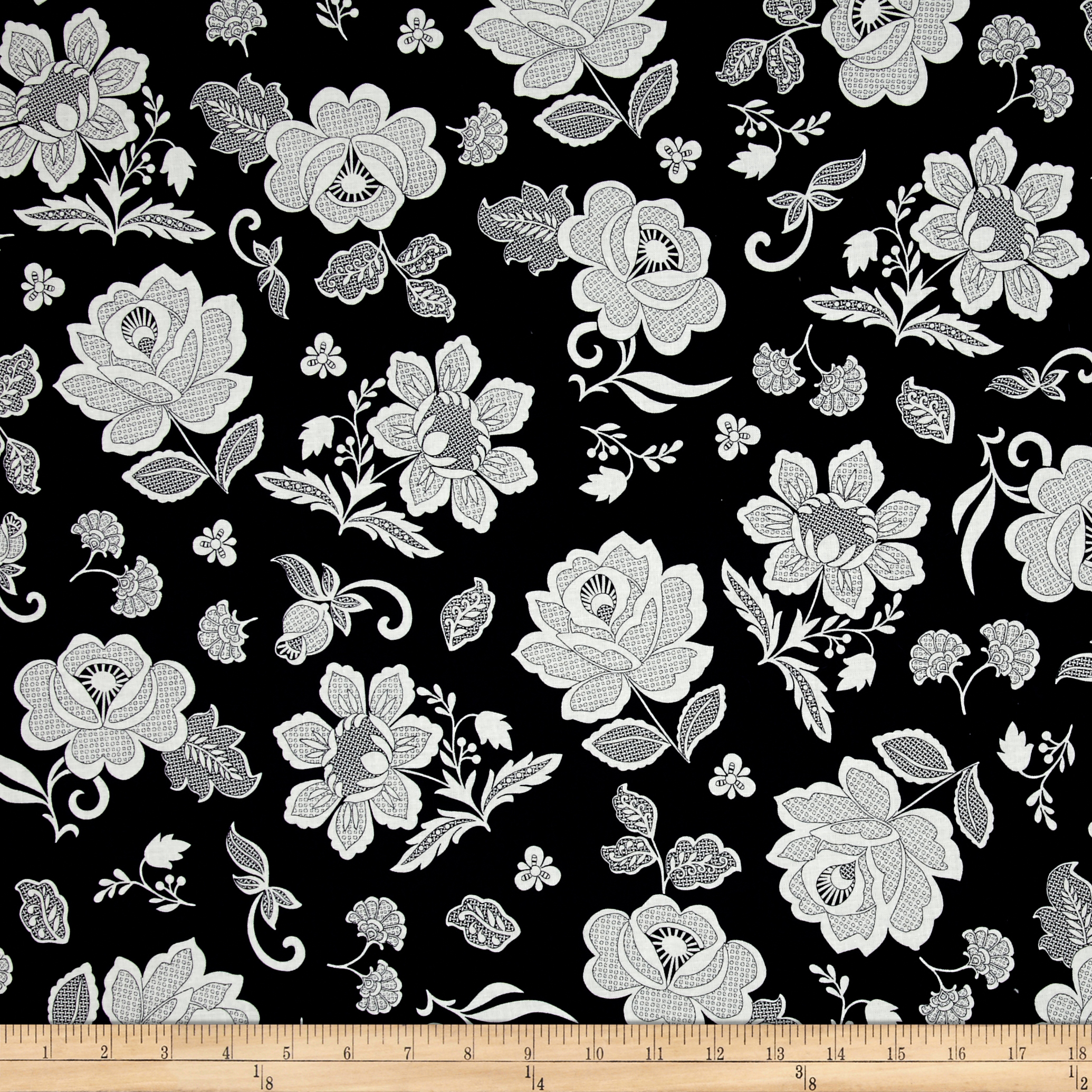 Hoffman Simply Eclectic Lace Floral Indigo Fabric by Hoffman of California in USA