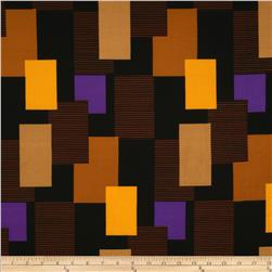 Stretch ITY Jersey Knit Abstract Blocks Black/Orange