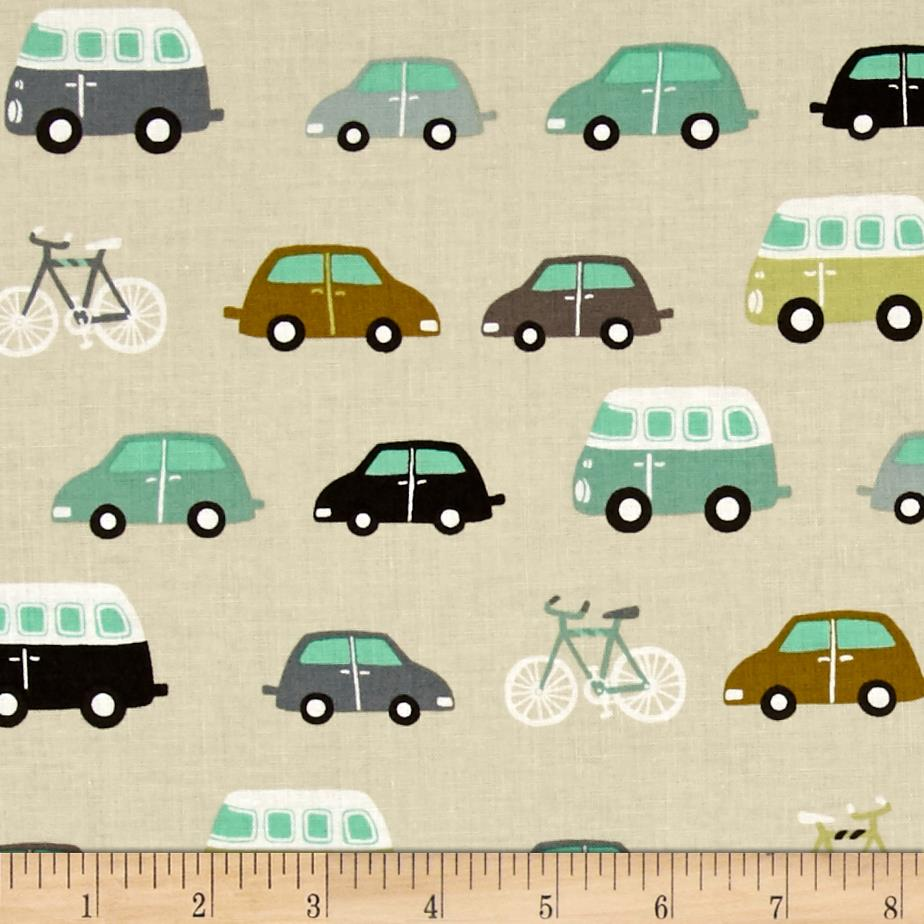 Roundabout Cars and Bicycles Taupe