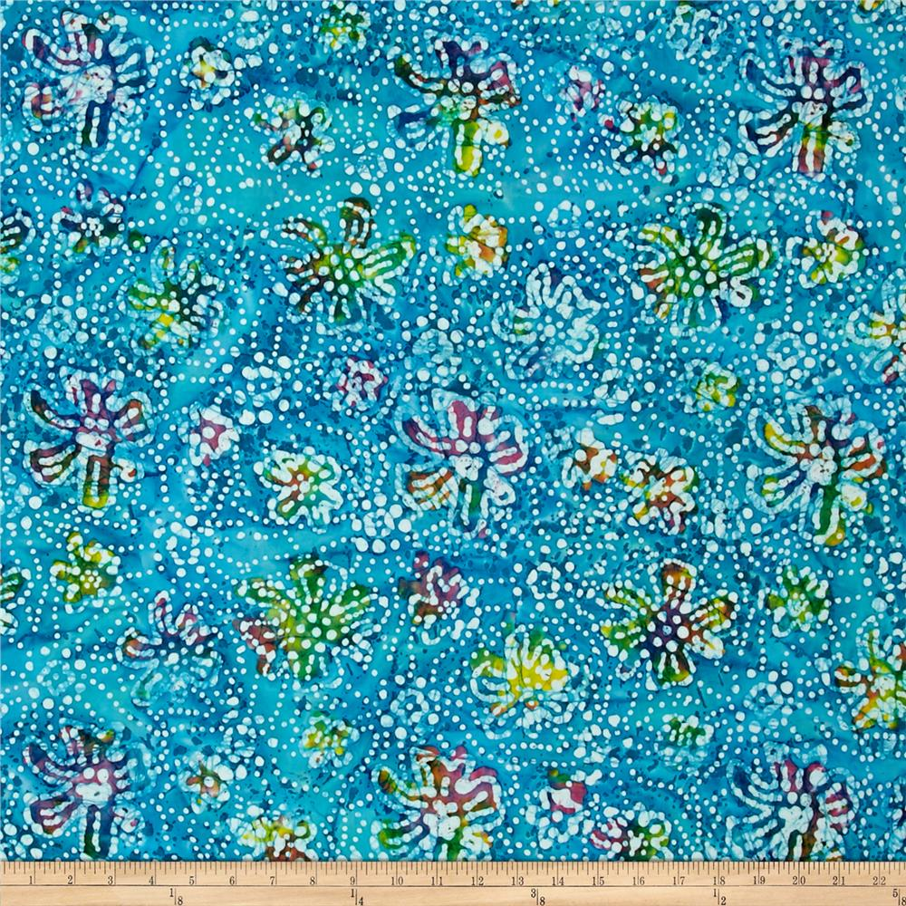Indian Batik Caledonia Garden Small Floral Aqua