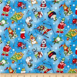 Christmas Pets Cats Blue/Multi