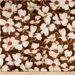 Velvet Blossoms Flannel Magnolia Flower Brown