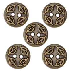 Fashion Button 1/2'' Value Pack Leaf Embossed Antique