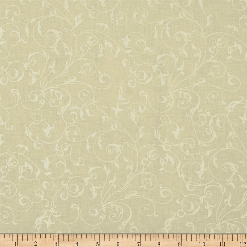 "110"" Wide Quilt Backing Filigree Ivory/White"