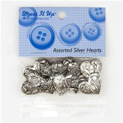 Dress It Up Embellishment Buttons Hearts Assorted Silver
