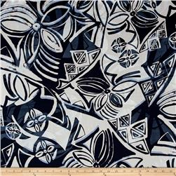 French Designer Cotton Voile Abstract Navy/White