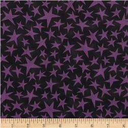 Black Cat Crossing Stars Purple Black