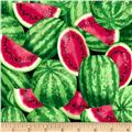 Timeless Treasures Packed Watermelons Melon Green