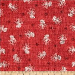 Winter Celebration Pine Cone Texture Red