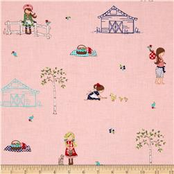 Riley Blake Country Girls Country Scene Pink