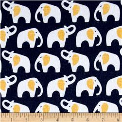 Cloud 9 Organic Flannel Elephants Navy