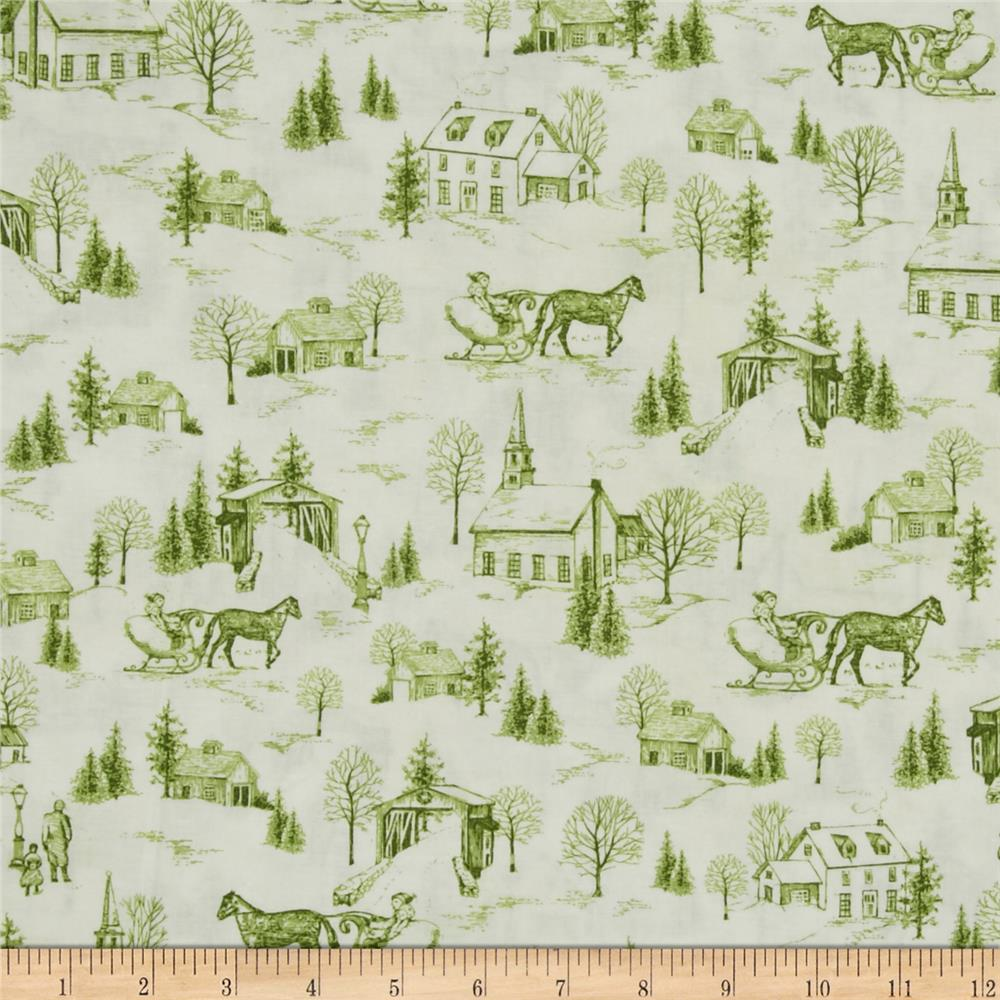 Christmas bells metallics toile green discount designer for Green fabric