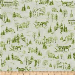Christmas Bells Metallics Toile Green