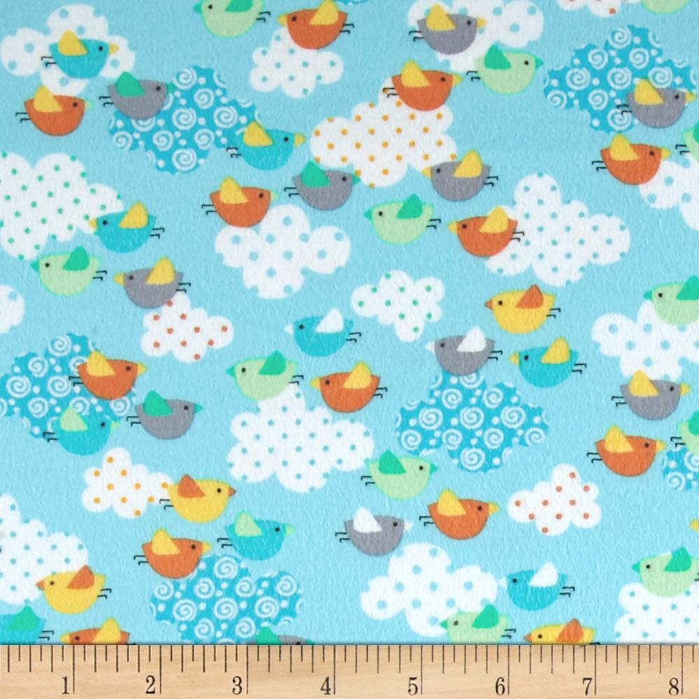 Kanvas breezy baby flannel chirp chirp aqua discount for Cheap baby fabric
