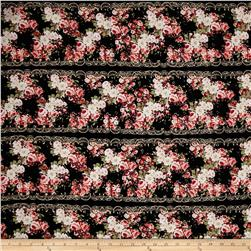 Rayon Challis Floral Black/Magenta/Dust Pink