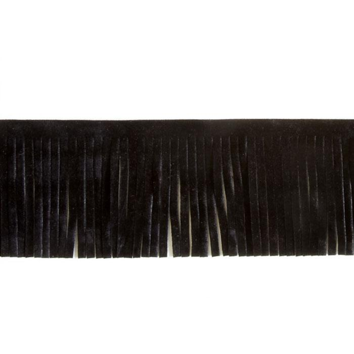 2'' Faux Suede Fringe Trim Black