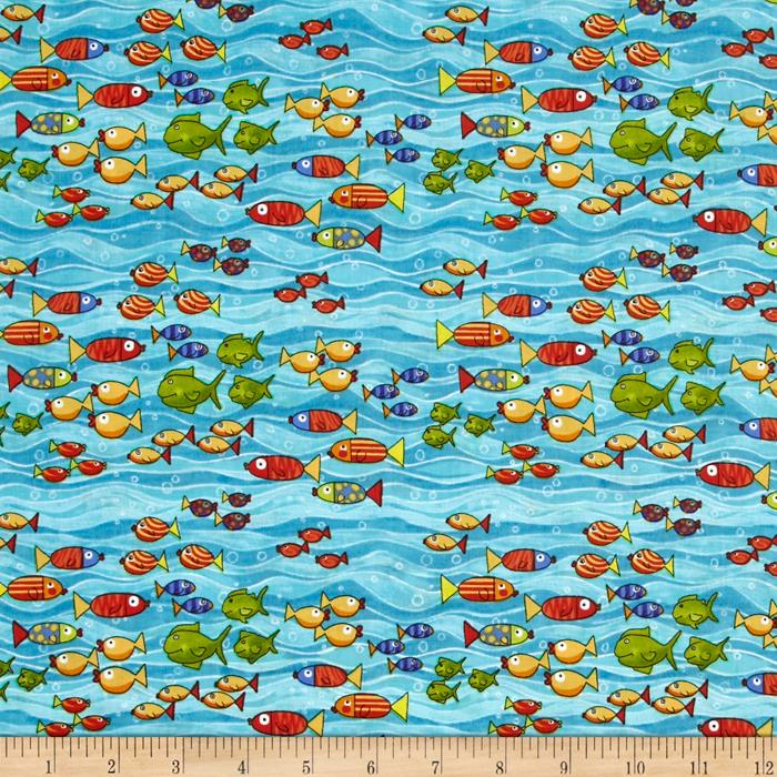 Baby zoom submarine fish teal discount designer fabric for Cheap baby fabric