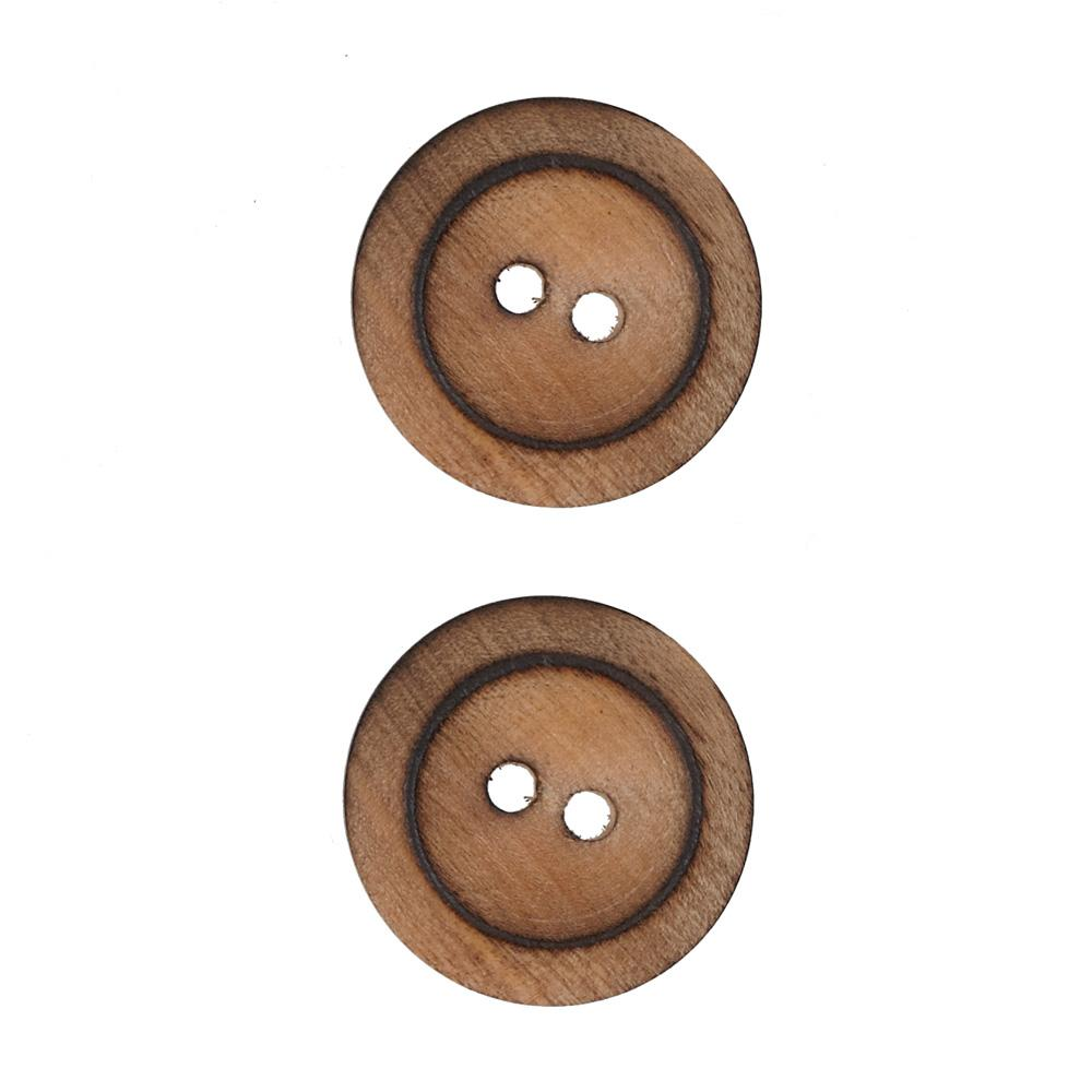 Wood Button 1'' Twiggery  Burnt Wood