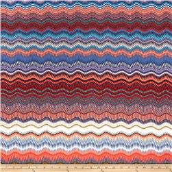 Designer Stretch ITY Jersey Knit Waves Blue/Orange Fabric