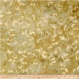 Indian Batiks Metallic Scroll Khaki