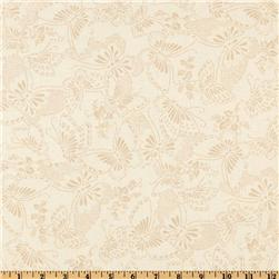 110'' Wide Quilt Backing Butterfly Cream/Taupe Fabric