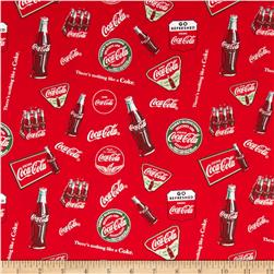 Coca Cola Bottles Allover Red