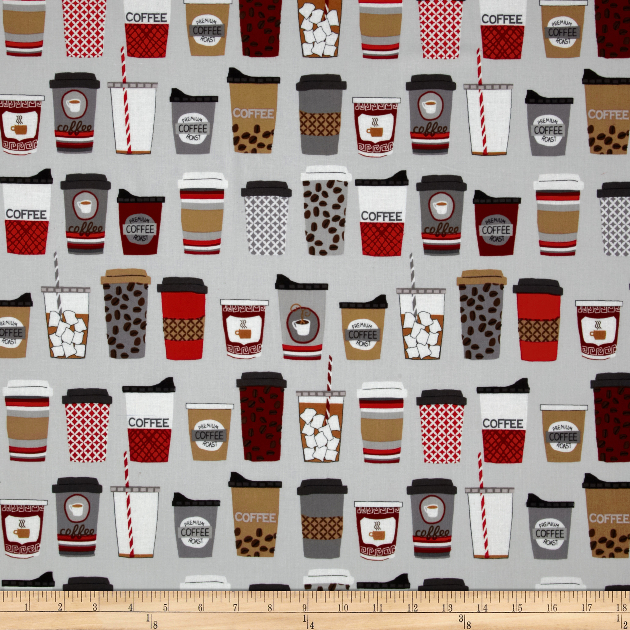 Metro Cafe Coffee To Go Hazelnut Grey Fabric