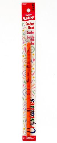 Susan Bates Crystalites Acrylic Crochet Hook 5-1/2'' Size I/9 Orange