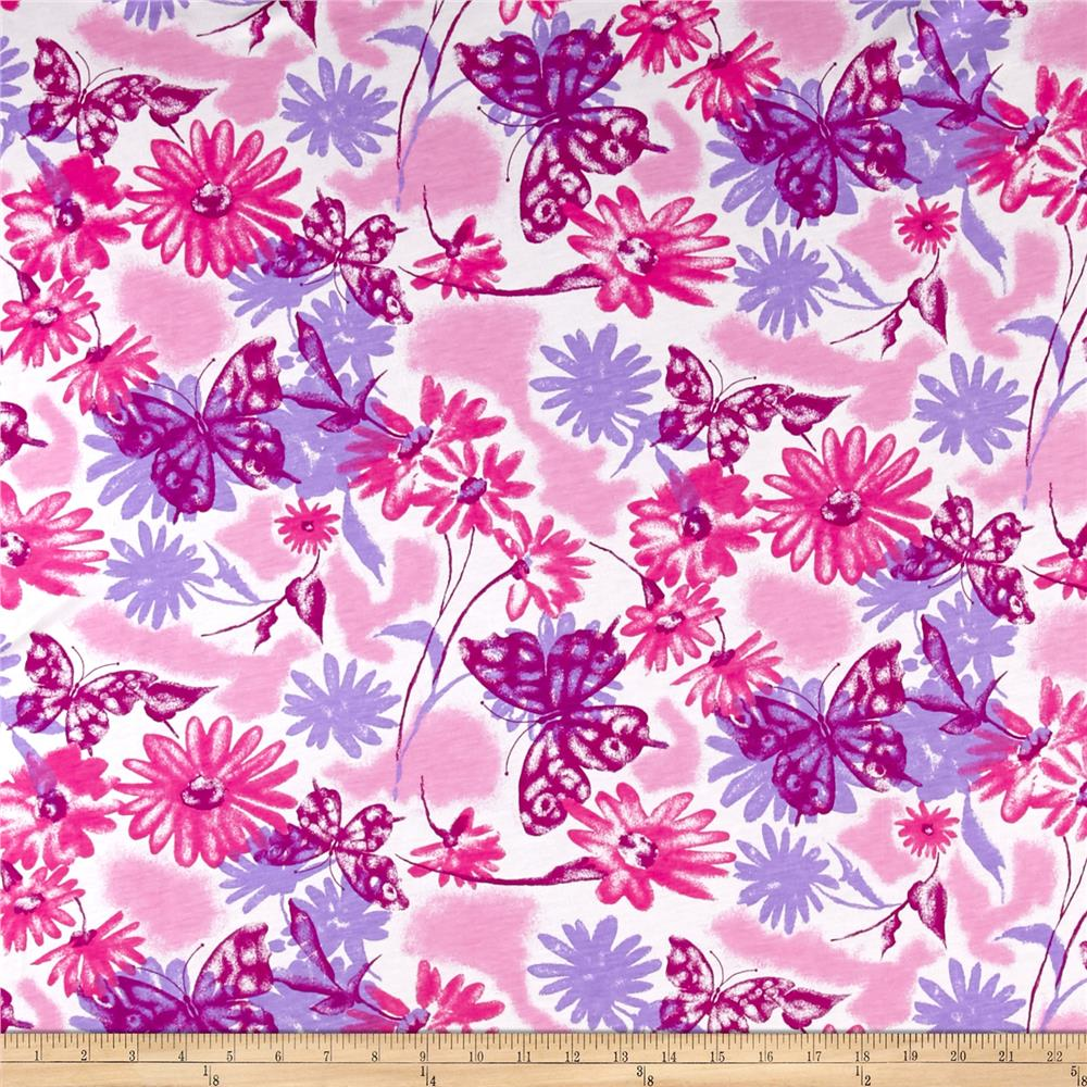 T-Shirt Knit Summer Fields of Flowers White Pink Purple