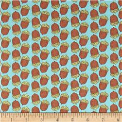 Fabric Freedom Woodland Animals Acorns Turquoise