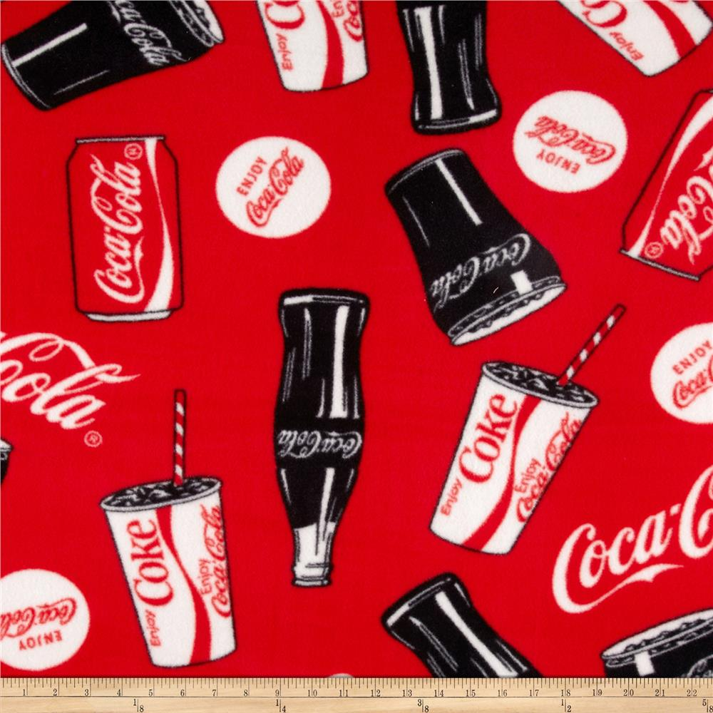 Coca Cola Fleece Bottles & Cans Allover Red