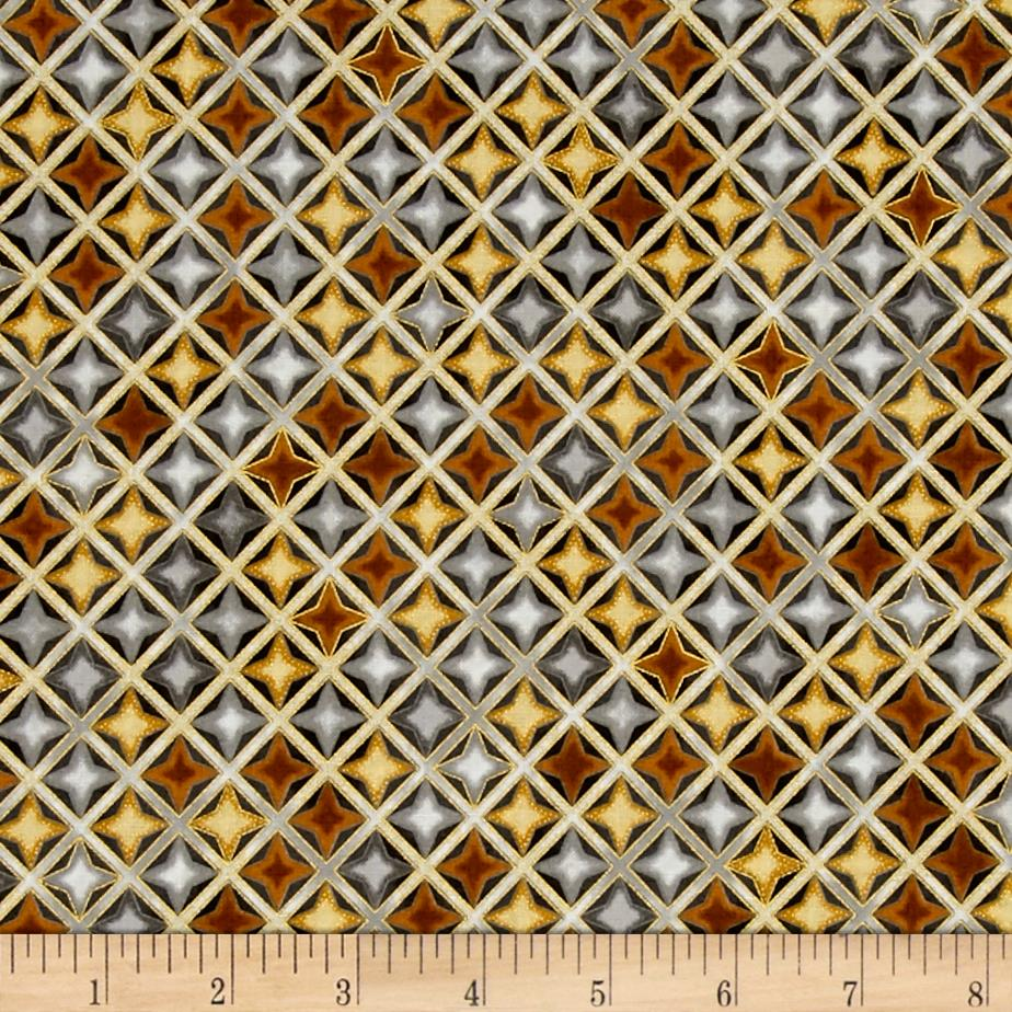 Kaufman Winter's Grandeur 4 Metallics Diamond Grid Vintage