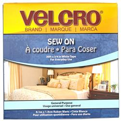 Velcro Brand Sew-On Tape 3/4'' White - By The Yard